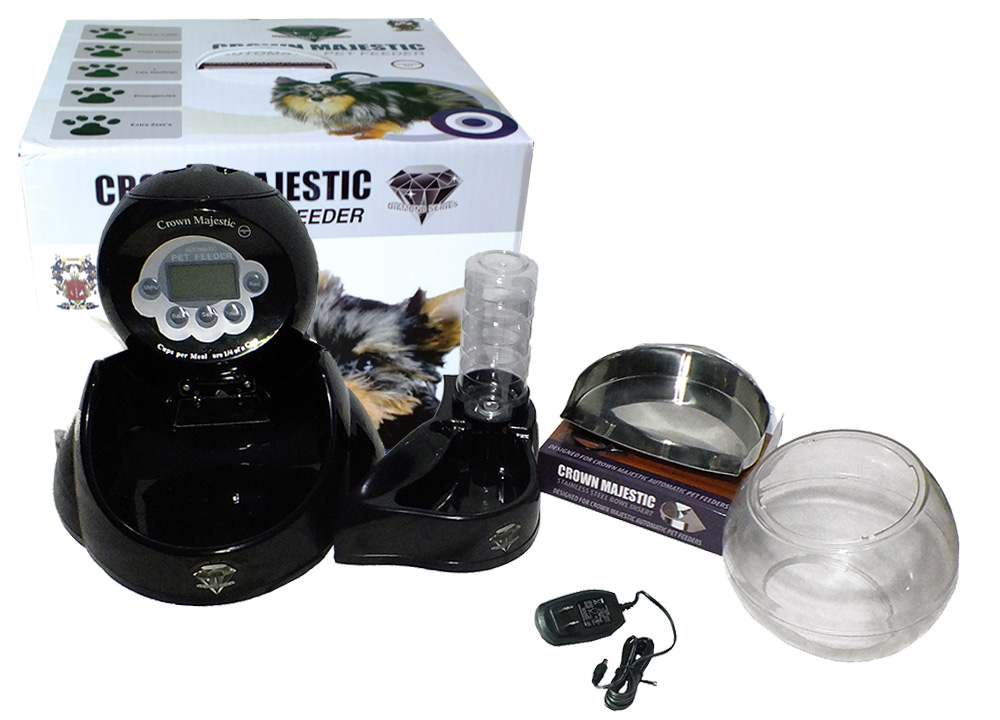 What do you receive with the crown majestic automatic pet feeder